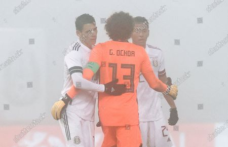 (l_R) Hector Moreno of Mexico Guillermo Ochoa of Mexico and Luis Romo of Mexico during the international friendly soccer match between Japan and Mexico in Graz, Austria, 17 November 2020.