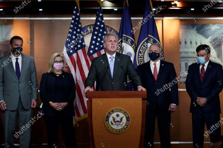 House Minority Leader Kevin McCarthy, R-Calif., center, holds a news conference following the GOP leadership elections for the 117th Congress, at the Capitol in Washington, . From left are, Rep. Richard Hudson, R-N.C., Republican Conference chair Rep. Liz Cheney, R-Wyo., Minority Leader Kevin McCarthy, House Minority Whip Steve Scalise, R-La., and Rep. Mike Johnson, R-La