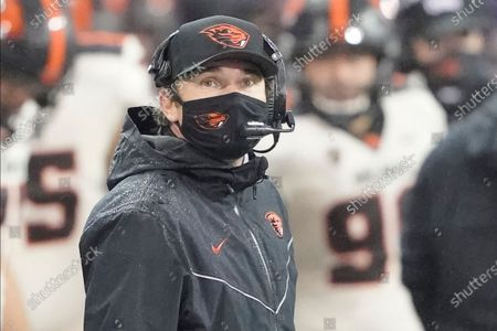 Oregon State head coach Jonathan Smith on the sldeline during an NCAA college football game against Washington, in Seattle