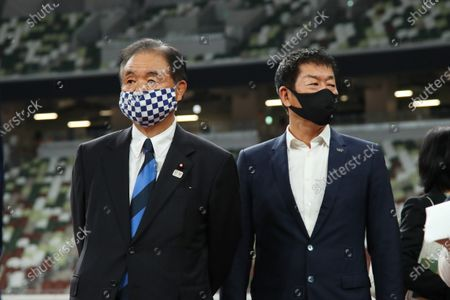 Stock Picture of (L-R) Toshiaki Endo, Morinari Watanabe : IOC President Thomas Bach visits the National Stadium (Olympic Stadium) for the Tokyo 2020 Olympic Games in Tokyo, Japan.