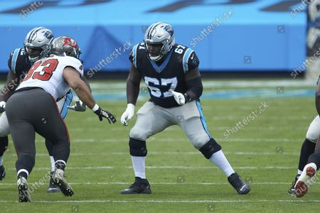 Carolina Panthers guard John Miller (67) during an NFL football game against the Tampa Bay Buccaneers, in Charlotte, N.C