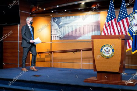 House Minority Leader Kevin McCarthy (R-CA) arrives at a press conference of the House Republican leadership.