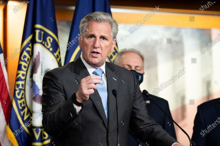 House Minority Leader Kevin McCarthy (R-CA) speaks at a press conference of the House Republican leadership.