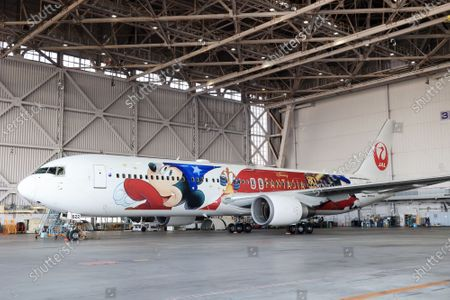 "Japan Airlines' (JAL) special designed airplane to celebrate the 80th anniversary of Walt Disney's animated film ""Fantasia"" which had the first screening in 1940 is displayed at a JAL hangar at Tokyo's Haneda airport on Wednesday, November 18, 2020. The special designed plane ""JAL Dream Express Fantasia 80"" is provided for a chartered pleasure flight on November 18 then served into domestic flights."