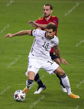 Fabian Ruiz of Spain competes for the ball with Leon Goretzka of Germany
