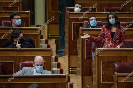 Stock Image of Leader of Spanish Ciudadanos Party, Ines Arrimadas, intervenes during question time at the Lower House in Madrid, Spain, 18 November 2020. The Spanish Government is to answer MPs on various issues including the national 2021 budget bill.