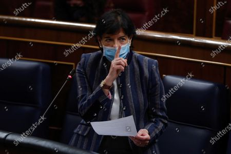 Spanish Education Minister, Isabel Celaa, intervenes during question time at the Lower House in Madrid, Spain, 18 November 2020. The Spanish Government is to answer MPs on various issues including the national 2021 budget bill.