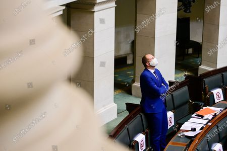 Stock Picture of N-VA's Theo Francken pictured during a session of the chamber commission for Interior Affairs, at the federal parliament in Brussels, Wednesday 18 November 2020.