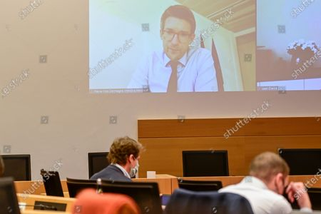 Vice-prime minister and minister of Economy and Work Pierre-Yves Dermagne (on screen) pictured during a session of the chamber commission for Economy, Consumer Protection and Digital Agenda at the federal parliament in Brussels, Wednesday 18 November 2020.
