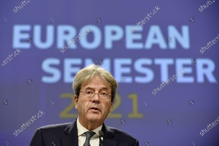 European Commissioner for Economy Paolo Gentiloni speaks during an online news conference at the EU headquarters in Brussels