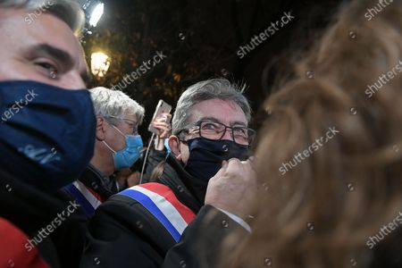 Jean Luc Melenchon of La France Insoumise came to speak about the global security law in front of the demonstrators during the manifestation against the proposed global security law, brought by Gerald Darmanin, Interior minister of Emmanuel Macron government today November 17, 2020 to the National Assembly in Paris