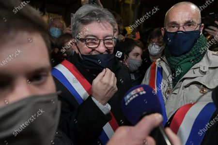 Stock Picture of Jean Luc Melenchon of La France Insoumise came to speak about the global security law in front of the demonstrators during the manifestation against the proposed global security law, brought by Gerald Darmanin, Interior minister of Emmanuel Macron government today November 17, 2020 to the National Assembly in Paris