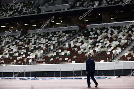 International Olympic Committee (IOC) president Thomas Bach visits the National Stadium, main venue for the 2020 Olympic and Paralympic Games postponed until July 2021 due to the COVID-19 coronavirus pandemic