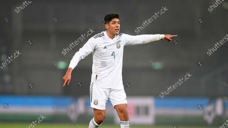 Mexico's Edson Alvarez gestures during the international friendly soccer match between Japan and Mexico at the Liebenauer Stadium in Graz, Austria