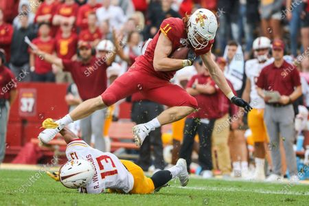 Iowa State tight end Chase Allen tries to break away from the grasp of Louisiana-Monroe cornerback Rhoy Williams during an NCAA football game on in Ames, Iowa.I owa State's Charlie Kolar, Allen and Dylan Soehner came into the season as perhaps the most celebrated group of tight ends in the country, and they still are