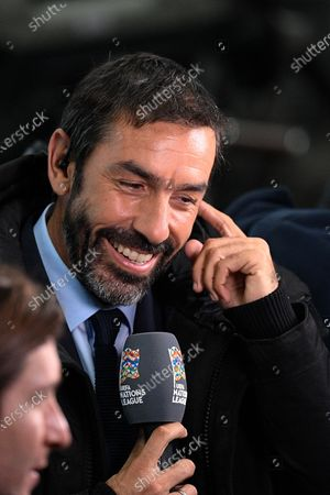 Stock Image of Former player Robert Pires before the match between France and Sweden at the Stade de France