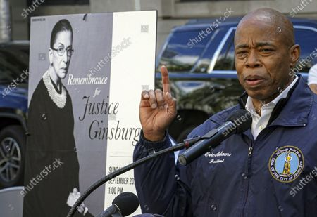 Brooklyn Borough President Eric Adams speaks during a public remembrance to honor the life and legacy of U.S. Supreme Court Justice and former Brooklynite Ruth Bader Ginsburg, outside the Municipal Building, in the Brooklyn borough of New York. Adams announced, that he is running for mayor of New York City, joining an already crowded field of candidates for the 2021 election