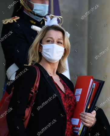 French Ecological and Social Transition Minister Barbara Pompili leaves after the weekly cabinet meeting at Elysee Palace.