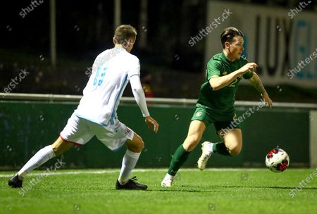 Stock Image of Luxembourg vs Republic of Ireland. Ireland's Danny McNamara with Lucas Prudhomme of Luxembourg