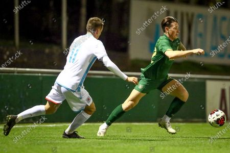 Luxembourg vs Republic of Ireland. Ireland's Danny McNamara with Lucas Prudhomme of Luxembourg