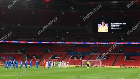 England players (back) applaud in memory of late England goalkeeper Ray Clemence prior to the UEFA Nations League soccer match between England and Iceland at Wembley in London, Britain, 18 November 2020.