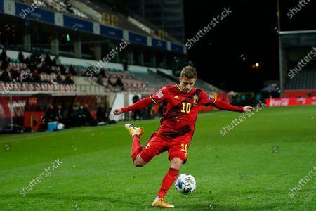 Belgium's Thorgan Hazard kicks the ball during the UEFA Nations League soccer match between Belgium and Denmark at the King Power stadium in Leuven, Belgium