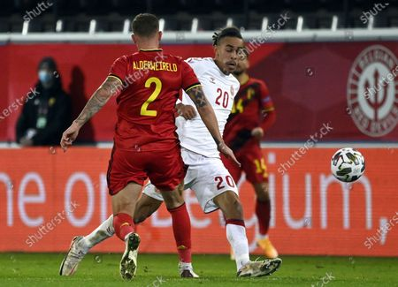 Belgium's Toby Alderweireld and Danish Yussuf Poulsen fight for the ball during a soccer game between the Belgian national team Red Devils and Denmark, Wednesday 18 November 2020 in Leuven, on the sixth and last day of the group stage (group A2) of the Nations League.