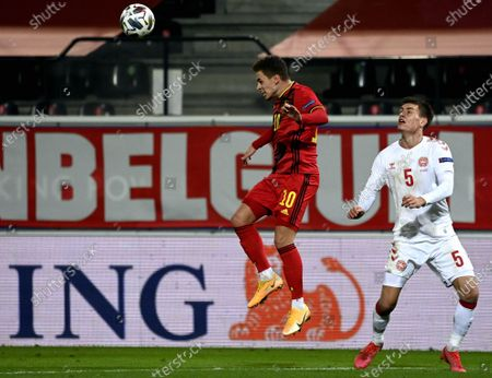 Belgium's Thorgan Hazard and Danish Joakim Maehle fight for the ball during a soccer game between the Belgian national team Red Devils and Denmark, Wednesday 18 November 2020 in Leuven, on the sixth and last day of the group stage (group A2) of the Nations League.
