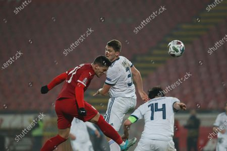 Serbia's Luka Jovic, left, scores Serbia's fourth goal against Russia during the UEFA Nations League soccer match between Serbia and Russia at the Rajko Mitic Stadium, in Belgrade, Serbia