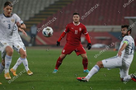 Serbia's Luka Jovic center looks at the ball during the UEFA Nations League soccer match between Serbia and Russia at the Rajko Mitic Stadium, in Belgrade, Serbia