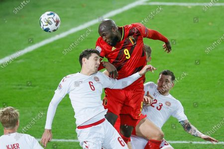Danish Andreas Christensen and Belgium's Romelu Lukaku fight for the ball during a soccer game between the Belgian national team Red Devils and Denmark, Wednesday 18 November 2020 in Leuven, on the sixth and last day of the group stage (group A2) of the Nations League.
