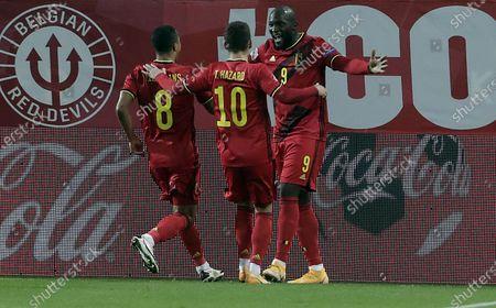 Romelu Lukaku (R) of Belgium celebrates after scoring the 2-1 lead with team mates Youri Tielemans (L) and Thorgan Hazard during the UEFA Nations League match between Belgium and Denmark in Leuven, Belgium, 18 November 2020.