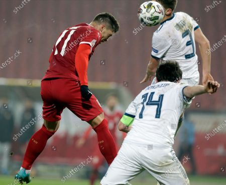 Serbia's Luka Jovic (L) scores the 4-0 goal during the UEFA Nations League, League B, group 3 match, between Serbia and Russia in Belgrade, Serbia, 18 November 2020.