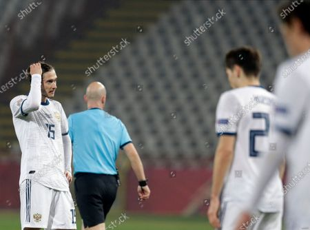 Stock Photo of Russia's Aleksei Miranchuk reacts during the UEFA Nations League, League B, group 3 match, between Serbia and Russia in Belgrade, Serbia, 18 November 2020.