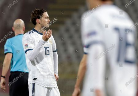 Russia's Aleksei Miranchuk reacts during the UEFA Nations League, League B, group 3 match, between Serbia and Russia in Belgrade, Serbia, 18 November 2020.