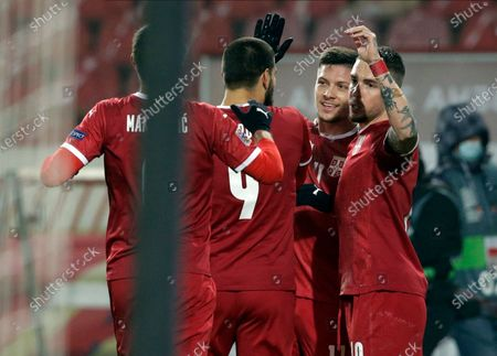 Serbia's Luka Jovic (2-R) celebrates with teammates after scoring the 2-0 goal during the UEFA Nations League, League B, group 3 match, between Serbia and Russia in Belgrade, Serbia, 18 November 2020.