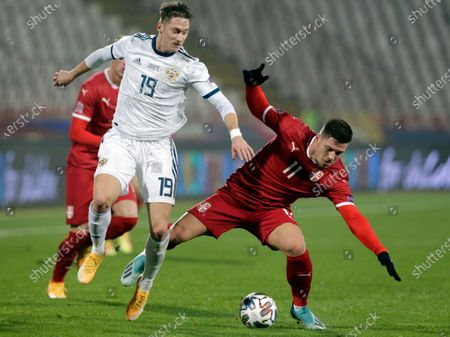 Serbia's Luka Jovic (R) in action against Russia's Anton Miranchuk (L) during the UEFA Nations League, League B, group 3 match, between Serbia and Russia in Belgrade, Serbia, 18 November 2020.