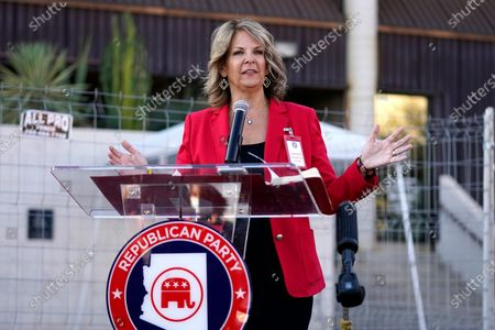 Dr. Kelli Ward, chair of the Arizona Republican Party, holds a press conference at the Maricopa County Elections Department as she reports the progress of the a post-election logic and accuracy test for the general election as an observer of the test process, in Phoenix