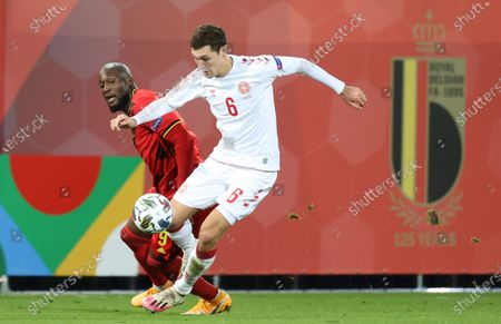 Stock Photo of Belgium's Romelu Lukaku and Danish Andreas Christensen fight for the ball during a soccer game between the Belgian national team Red Devils and Denmark, Wednesday 18 November 2020 in Leuven, on the sixth and last day of the group stage (group A2) of the Nations League.