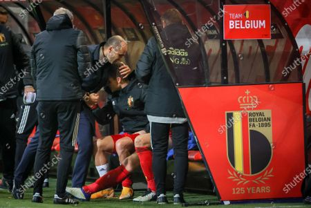 Belgium's head coach Roberto Martinez and Belgium's Thorgan Hazard celebrate after winning a soccer game between the Belgian national team Red Devils and Denmark, Wednesday 18 November 2020 in Leuven, on the sixth and last day of the group stage (group A2) of the Nations League.