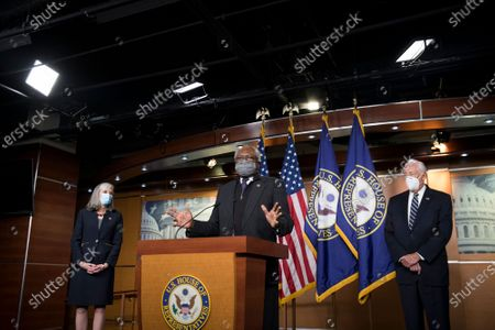 Stock Photo of United States House Assistant Democratic Leader James Clyburn (Democrat of South Carolina) offers remarks as he is joined by Speaker of the United States House of Representatives Nancy Pelosi (Democrat of California) and other members of the House Democratic leadership, to offer remarks and field questions from reporters during a press conference at the US Capitol in Washington, DC,.