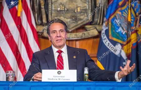 "Stock Photo of Provided by the Office of Governor Andrew M. Cuomo, Gov. Cuomo holds a press briefing on the coronavirus in the Red Room at the State Capitol in Albany, N.Y. During the news conference, Cuomo predicted a ""tremendous spike"" in COVID-19 cases after Thanksgiving as he pleaded with people not to be lulled into a false sense of safety over the holiday"