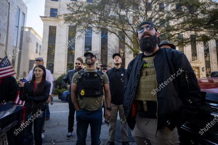 Stock Picture of Enrique Tarrio, leader of the proud boys, is seen at a 'Stop the Steal' protest outside of the Georgia state capitol