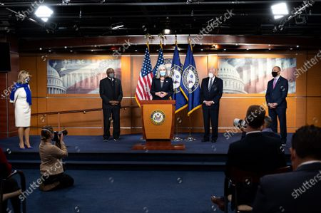 U.S. Representative Katherine Clark (D-MA) speaks at a press conference of the House Democratic Leadership. In the background is (l to r) House Speaker Nancy Pelosi (D-CA), U.S. Representatives James Clyburn (D-SC), Steny Hoyer (D-MD), and Hakeem Jeffries (D-NY).