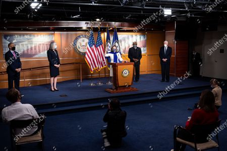 House Speaker Nancy Pelosi (D-CA) speaks at a press conference of the House Democratic Leadership in the background are U.S. Representatives Hakeem Jeffries (D-NY), U.S. Representative Katherine Clark (D-MA), James Clyburn (D-SC) and Steny Hoyer (D-MD).