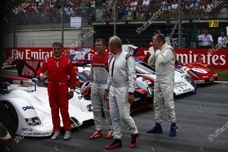 Red Bull Ring, Spielberg, Austria. Sunday 9 July 2017. Jean Alesi, Helmut Markko, Consultant, Red Bull Racing, Tom Kristensen and Gerhard Berger on the grid for the Legends Parade. Photo: Andrew Hone/McLaren