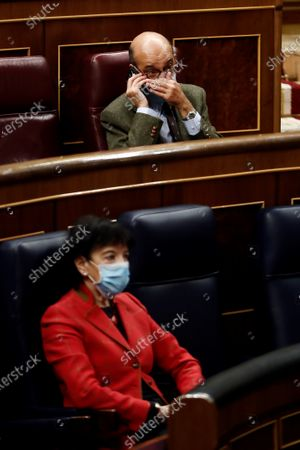 Spanish Education Minister, Isabel Celaa (down), and MP of Basque nationalist party PNV Mikel Legarda (up) are seen at the Lower House in Madrid, Spain, 19 November 2020. The new Education bill is to be voted at the Lower House amidst criticism amongst the opposition parties as the new law would allow regions with a second language such as Catalans, Basques or Galicians to choose in which language are students taught at school.