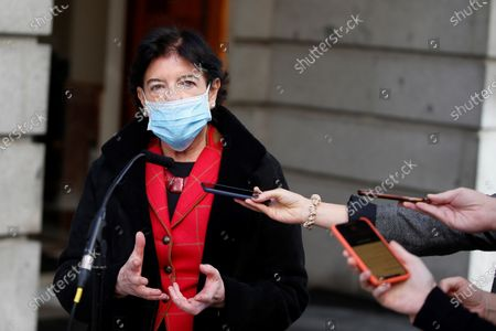 Spanish Education Minister Isabel Celaa talks to media as she leaves the Lower House in Madrid, Spain, 19 November 2020, after the debate of the new Education bill. The new Education bill is to be voted at the Lower House amidst criticism amongst the opposition parties as the new law would allow regions with a second language such as Catalans, Basques or Galicians to choose in which language are students taught at school.