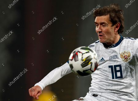 Stock Picture of Russia's Yuri Zhirkov controls the ball during the UEFA Nations League soccer match between Serbia and Russia at the Rajko Mitic Stadium, in Belgrade, Serbia