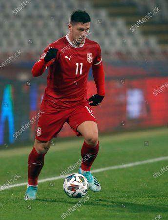Serbia's Luka Jovic controls the ball during the UEFA Nations League soccer match between Serbia and Russia at the Rajko Mitic Stadium, in Belgrade, Serbia